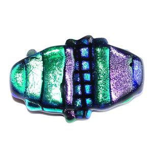 Glazen speld/broche van groen, paars en blauw glas om je kleding mee op te fleuren!