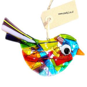 Gekleurde glazen vogel glashanger. Decoratie vogel handgemaakt van speciaal glas in allerlei kleuren!