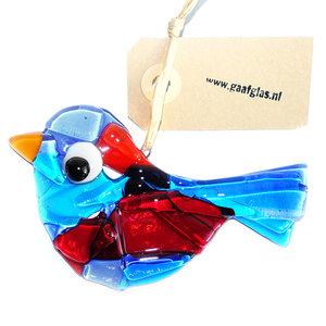 Glazen vogel hanger van prachtig blauw en rood helder glas. Glaskunst uit eigen atelier!