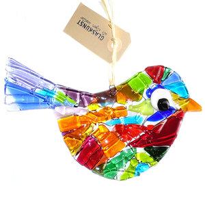 Vogel hanger van prachtig gekleurd glas. Glasfusing decoratie vogel uit eigen atelier!