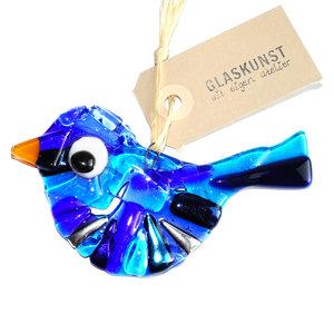 Glazen vogel gemaakt van prachtig blauw gekleurd glas.