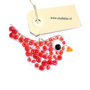 Klein rood glazen vogeltje voor de tuin of om op te hangen in huis
