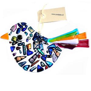 Luxe grote heldere glazen vogel versierd met kostbaar dichroide glas in alle kleuren van de regenboog.