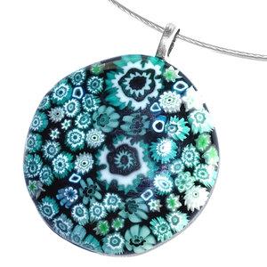 Turquoise hanger handgemaakt van millefiori glas!