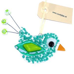 Groene glazen vogel hanger van speciaal glas. Unieke glasfusing vogel hanger.