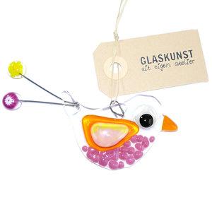 Exclusieve vogel hanger van prachtig roze, oranje en geel glas.