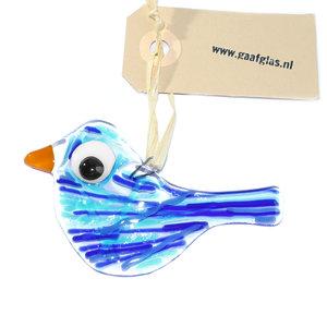 Glazen vogel hanger handgemaakt van prachtig helder glas met allerlei blauwe accenten in het glas.