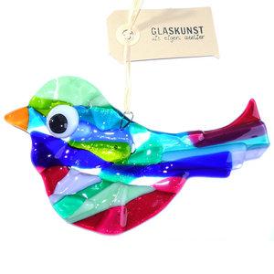 Grote vogel gemaakt van het mooiste blauwe, groene en roze glas!