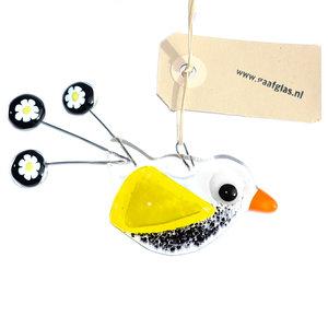 Heldere glazen vogel hanger met zwarte en gele accenten en een staart van Murano Millefiori bloemen. Unieke glasfusing vogel ha