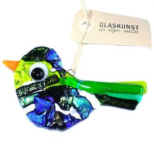 Luxe blauw met groene vogel hanger van speciaal dichroide glas. Exclusieve glasfusing vogel hanger.