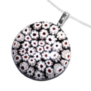 Ronde zwarte glashanger met tientallen kleine wit met rode bloemetjes!
