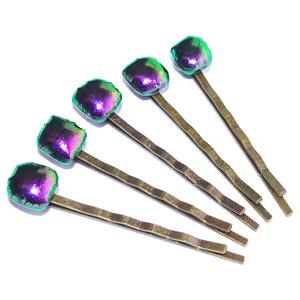 Haarschuifjes met paarse glazen pronkstukjes! Set van 5 handgemaakte schuifjes.