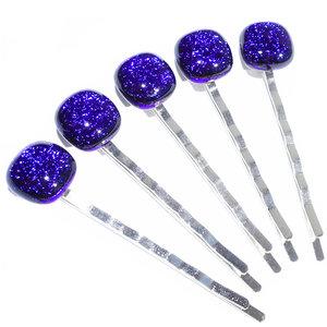 Haarschuifjes met prachtig donkerblauw glas! Set van 5 luxe haarspeldjes.