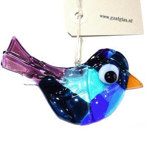 Glazen vogel hanger, gemaakt van het mooiste blauwe en paarse glas!