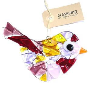 Prachtige paars met amber/geel en roze gekleurde vogelhanger van glas.
