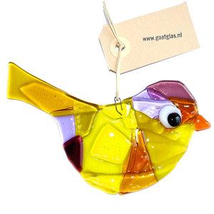 Glazen vogel van helder glas in amber, geel, lila en paarse kleuren. Glaskunst decoratie voor huis & tuin!