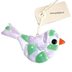 Glazen vogel hanger gemaakt van groen en roze-lila glas.