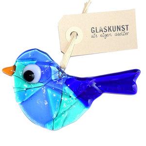 Glazen vogel hanger gemaakt van prachtig blauw gekleurd glas.