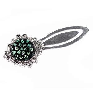 Metalen boekenlegger met luxe zwart-groene glazen cabochon!