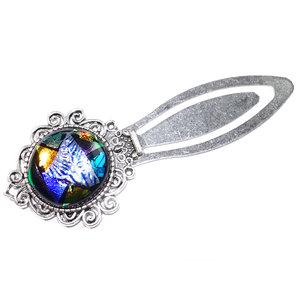 Sierlijke metalen boekenlegger met luxe kleurrijke cabochon van speciale glassoorten!