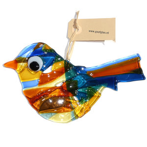 Grote glazen vogel om op te hangen. Handgemaakt van speciaal glas in blauw en amber-gele kleuren.
