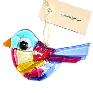 Prachtige gekleurde vogelhanger van glas. Handgemaakt in eigen atelier van paars, roze, blauw en amber-geel glas.