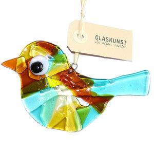 Blauw/turquoise met amber-gele glazen vogel hanger van speciaal glas.