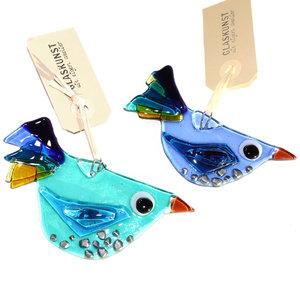 Exclusieve set van 2 blauwe glazen vogels. Glazen vogel hangers van speciaal glas gemaakt in eigen atelier