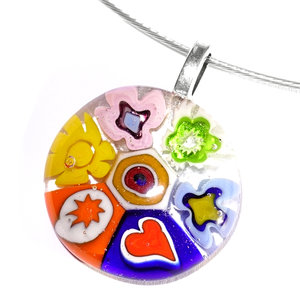 Glashanger met prachtige kleurrijke figuren van speciaal millefiori glas!