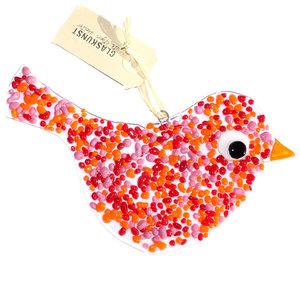 Kleurrijke glazen vogel hanger gemaakt van helder glas met rood, oranje en roze glazen steentjes!