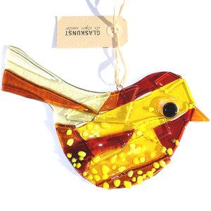 Gekleurde glazen vogel, handgemaakt van speciaal glas in allerlei gele, amber en bruine tinten!