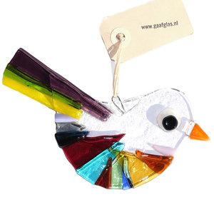 Prachtige glazen vogelhanger van helder glas. Handgemaakt in eigen atelier.