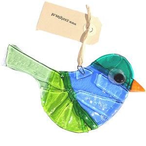 Groen-blauwe glazen vogel hanger van speciaal glas.