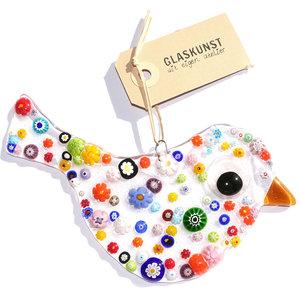 Heldere glazen vogel met kleurrijke bloemen in alle kleuren van de regenboog! Glasfusing uit eigen atelier!