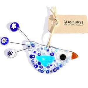 Glazen vogel handgemaakt van helder blauw glas in eigen atelier. Uniek ontwerp!