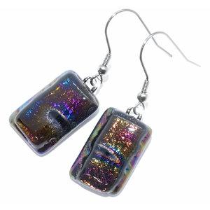 Lange oorbellen van paars-groen-blauw metallic glas! Prachtige gloed!