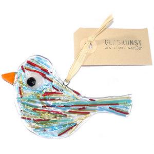 Heldere glazen vogel hanger met blauwe, groene, rode en amber-gele strepen in het glas.Glasfusing vogel hanger voor huis en tui