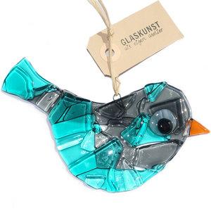 Exclusieve vogel hanger van grijs en turquoise-blauw glas. Handgemaakt in eigen atelier d.m.v. glasfusing.