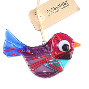 Prachtige paars met rood en blauwe vogelhanger van glas. Glazen vogel hanger van speciaal glas gemaakt in eigen atelier