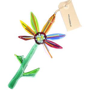 Kleurrijke glazen bloem van prachtig gekleurd glas! Unieke eenmalige bloem hanger van glas.