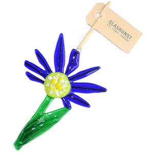 Heldere donkerblauwe bloem van glas om op te hangen!