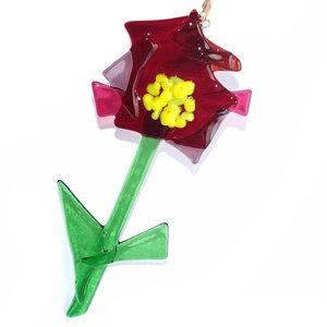 Heldere rood-paarse bloem van glas om op te hangen!