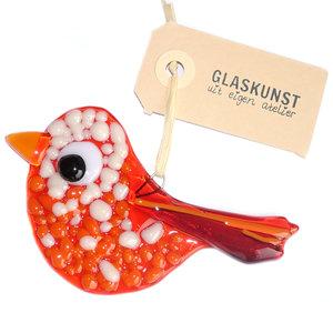 Oranje glazen vogel hanger. Unieke decoratie handgemaakt van speciale glassoorten