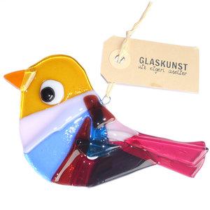 Vogel hanger van roze, geel, paars en blauw glas. Unieke decoratie handgemaakt van speciale glassoorten.