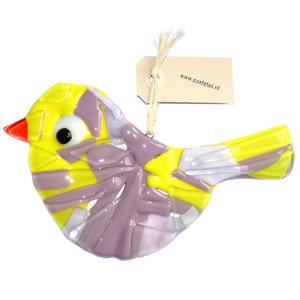 Vogel hanger van roze, lila en geel glas. Unieke decoratie handgemaakt van speciale glassoorten.