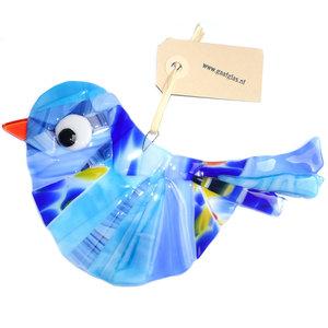 Grote glazen vogel hanger gemaakt van diverse soorten opaal blauw glas.