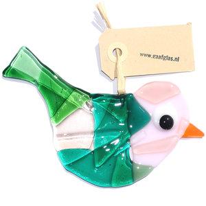 Glazen vogel hanger van prachtig groen en roze glas. Glaskunst uit eigen atelier!