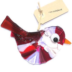 Roze-paars-rode glazen vogel hanger. Glasfusing vogel hanger handgemaakt in eigen atelier.