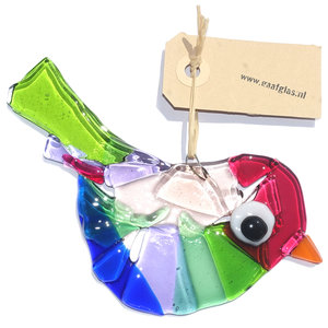 Prachtige glazen vogel gemaakt van roze, blauw, groen en lila glas. Exclusieve glaskunst vogelhanger voor huis en tuin!