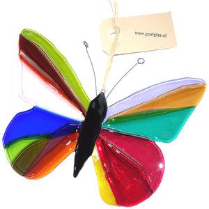 Glazen vlinder van gekleurd glas om op te hangen. Glaskunst vlinder uit eigen atelier.